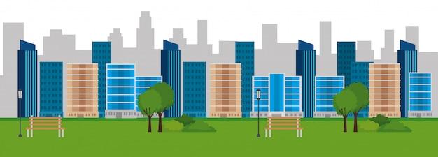 Escena del paisaje del parque vector gratuito