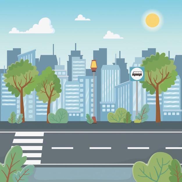 Escena del paisaje urbano con el camino de peatones vector gratuito