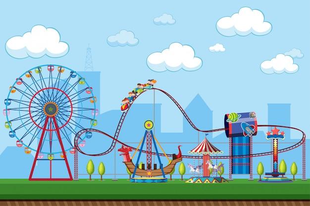 Escena del parque de atracciones con atracciones Vector Premium