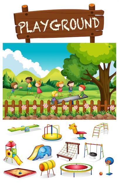 Escena de parque infantil con niños y juguetes. vector gratuito
