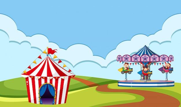 Escena con paseo en circo en el parque vector gratuito