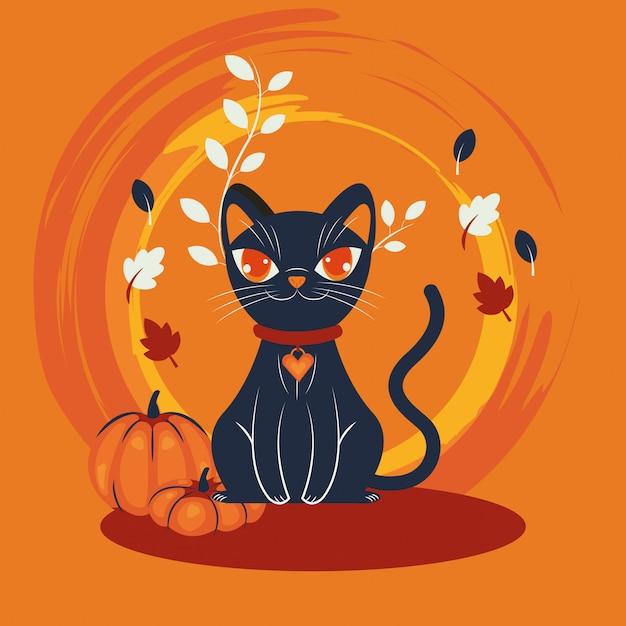 Escena de personaje disfrazado de gato de halloween vector gratuito