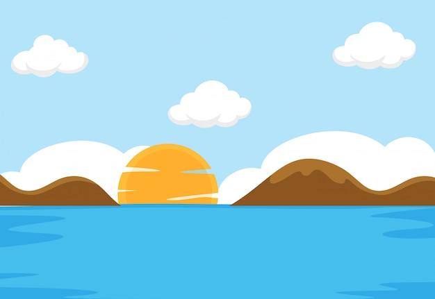 Una escena plana del mar. vector gratuito