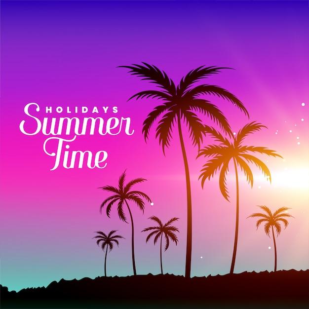 Escena de playa de verano con palmeras vector gratuito