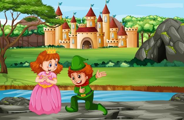Escena con el príncipe y la princesa en el castillo. vector gratuito
