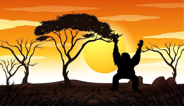 Escena de puesta de sol de silueta de naturaleza al aire libre vector gratuito