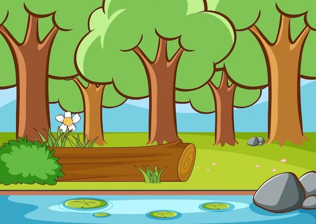Escena con río en el bosque vector gratuito