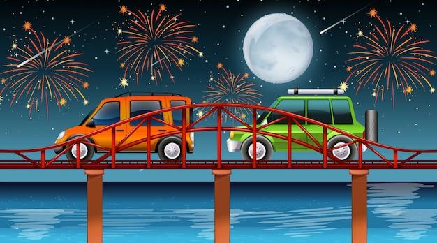 Escena del río con fuegos artificiales de celebración vector gratuito