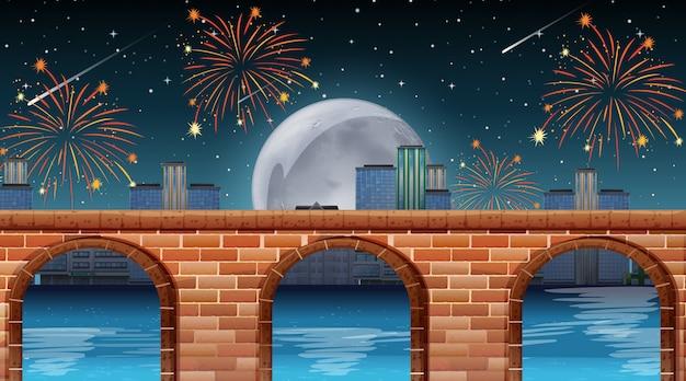 Escena del río con fuegos artificiales de celebración. Vector Premium