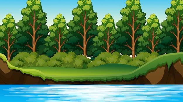 Escena de la selva con el rio vector gratuito