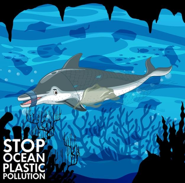 Escena submarina con delfines y bolsas de plástico. vector gratuito