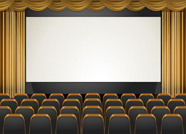 Escena de teatro con pantalla y asientos. Vector Premium