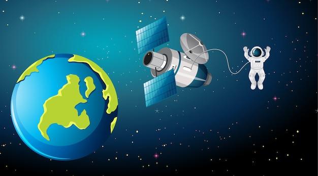 Escena de la tierra con astronauta y satélite. vector gratuito