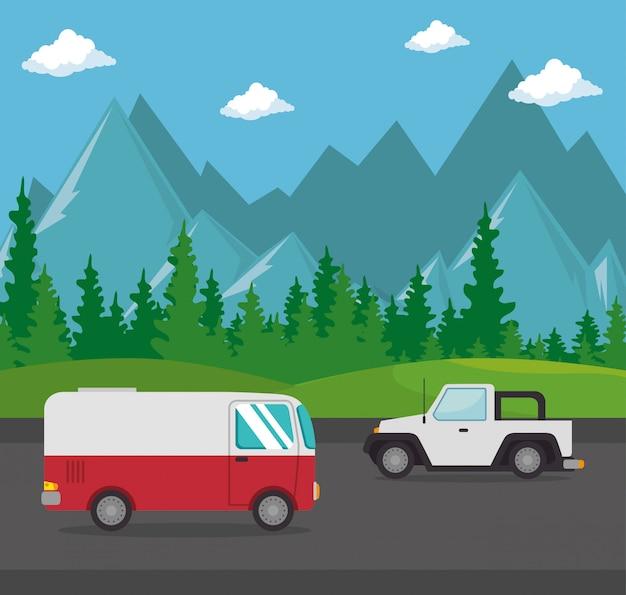 Escena de transporte de vehículos automóviles vector gratuito