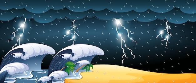Escena del tsunami con tormentas eléctricas. vector gratuito