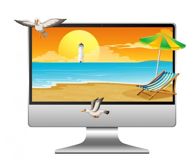 Escena de verano en el escritorio de la computadora Vector Premium