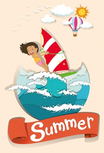 Escena de verano con surf de mujer vector gratuito