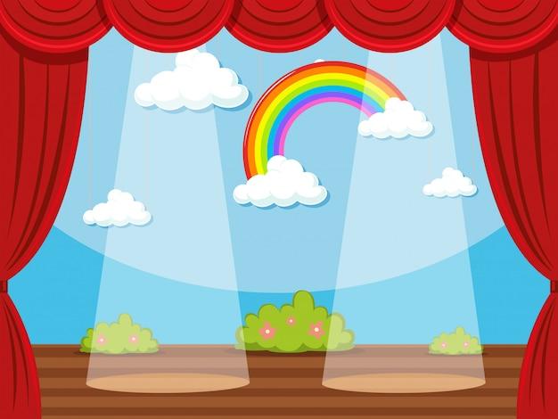 Escenario con arcoiris en fondo vector gratuito