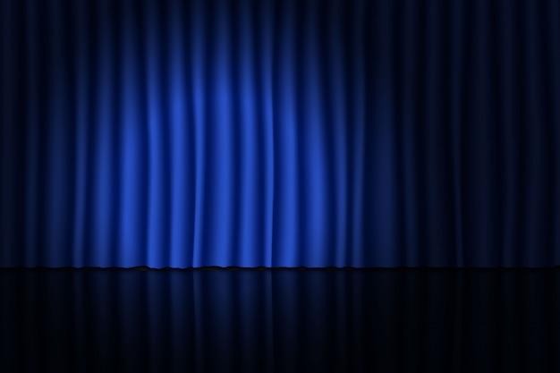 Escenario con cortina azul y proyector. Vector Premium