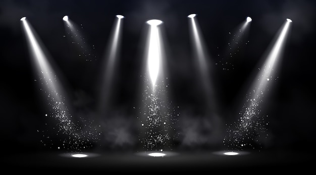 Escenario iluminado por focos. escena vacía con punto de luz en el suelo. vector gratuito