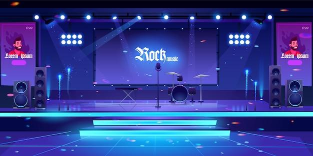 Escenario con instrumentos y equipos de música rock. vector gratuito