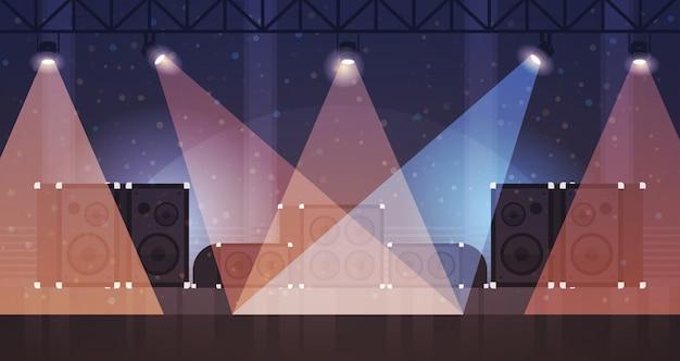Escenario libre con efectos de luz discoteca club de baile rayos láser equipo musical altavoz multimedia plano horizontal Vector Premium