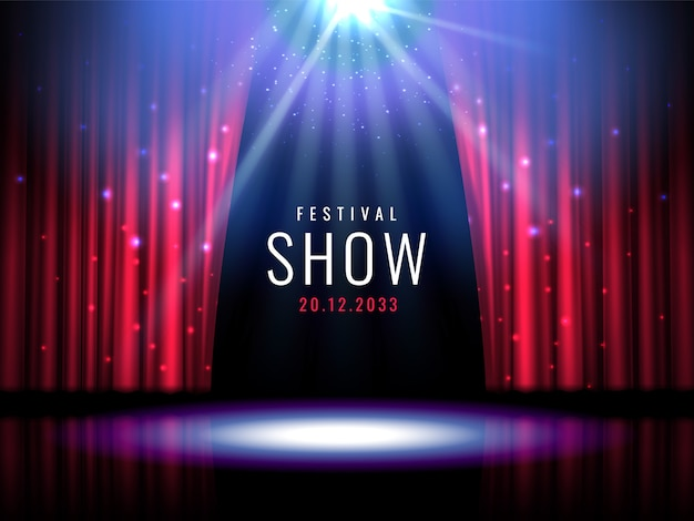 Escenario de teatro con cortina roja y foco. Vector Premium