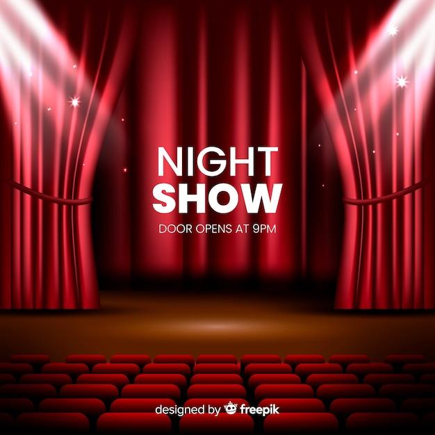 Escenario de teatro de espectáculo nocturno realista vector gratuito
