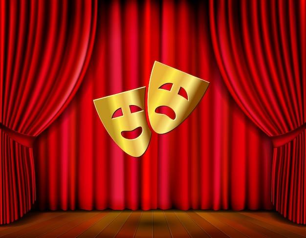 Escenario de teatro con máscaras doradas y cortina roja ilustración vectorial vector gratuito