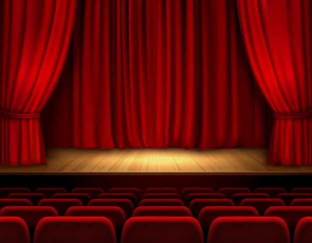 Escenario de teatro con terciopelo rojo abierto. vector gratuito