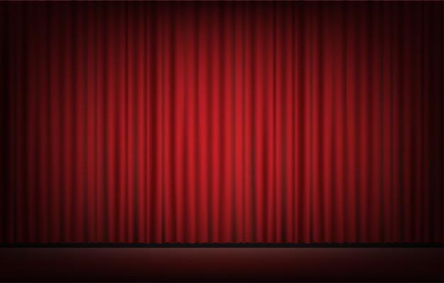 Escenario con telón de fondo de cortina roja Vector Premium