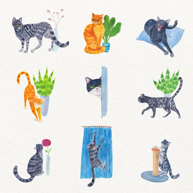 Escenas cotidianas con adorables gatos vector gratuito