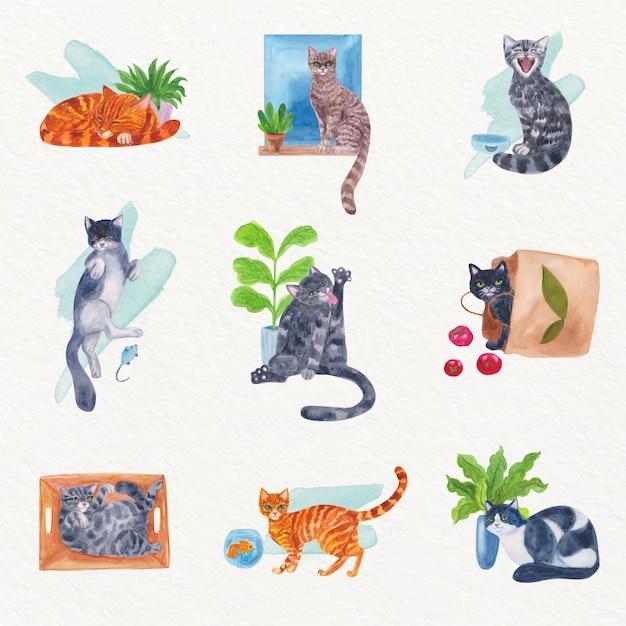 Escenas cotidianas con gatos en acuarela vector gratuito