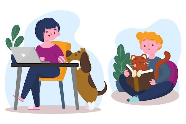 Escenas cotidianas con ilustración de mascotas vector gratuito