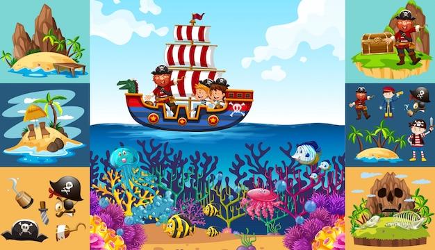 Escenas del océano con el pirata en el barco Vector Gratis
