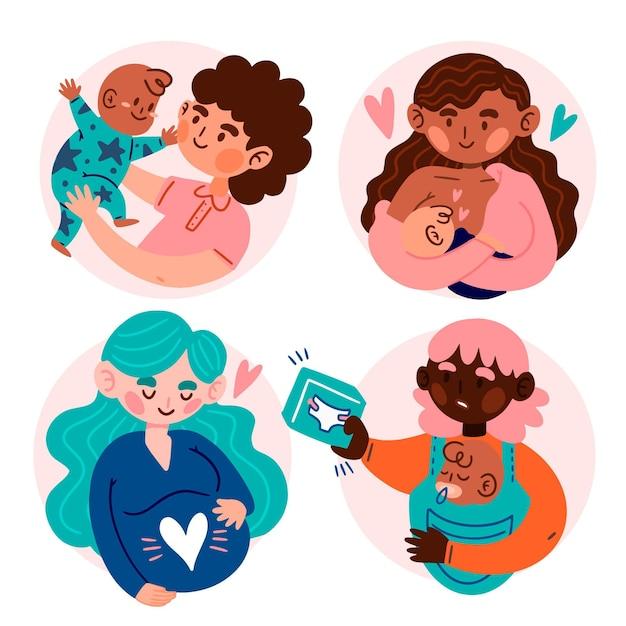Escenas de embarazo y maternidad. vector gratuito