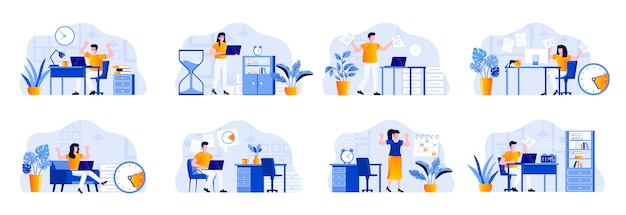 Las escenas de la fecha límite se agrupan con personajes de personas. empleados cansados que se apresuran en la fecha límite en el lugar de trabajo, situación estresante y horas extras gestión del tiempo y efectividad ilustración plana. Vector Premium