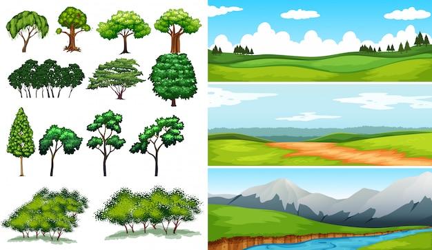 Escenas de la naturaleza con campos y montañas. vector gratuito