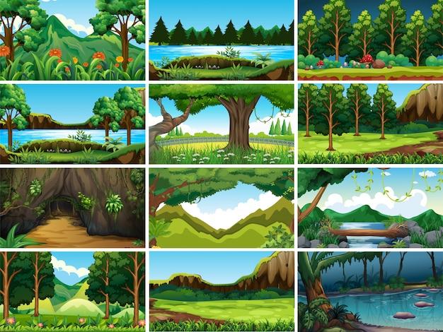Escenas de la naturaleza del paisaje vacío, en blanco vector gratuito