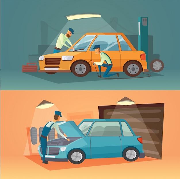 Escenas de reparación de automóviles ilustración vectorial. garaje de dibujos animados. Vector Premium