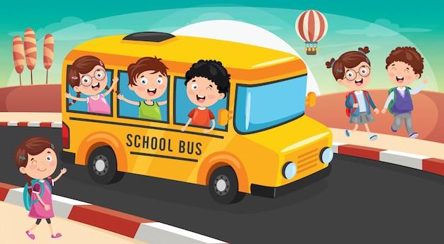 Los escolares van a la escuela en autobús Vector Premium