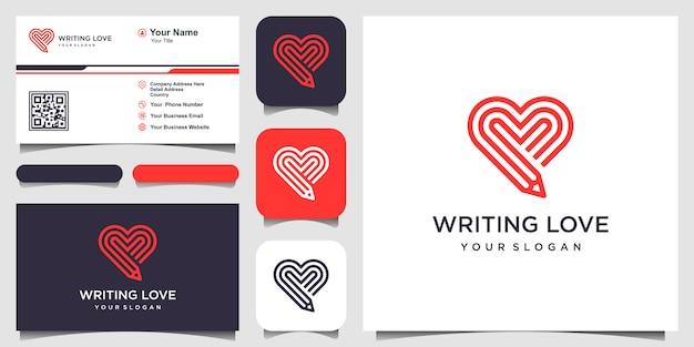 Escribir plantilla de logotipo de amor. combinación de lápiz y corazón con estilo de línea de arte. y tarjeta de visita Vector Premium