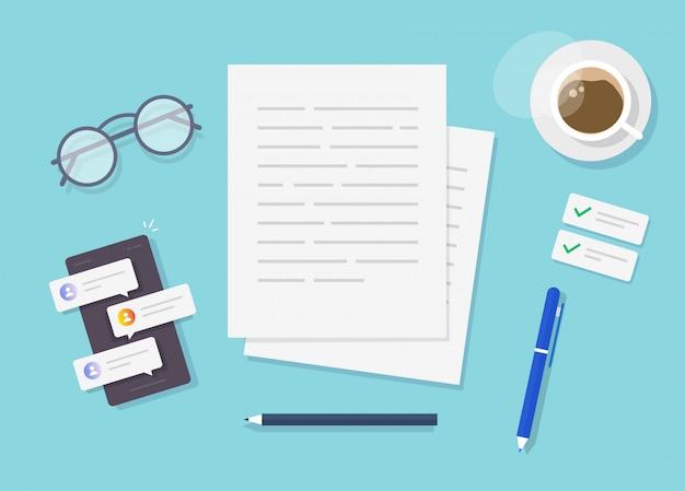 Escribir vector de contenido de texto en la vista superior de la mesa de trabajo del escritor o crear un documento de ensayo Vector Premium