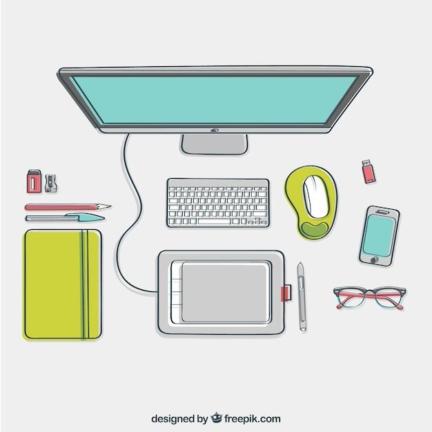 Escritorio de dise ador esbozado en vista superior for Disenador de cocinas online gratis