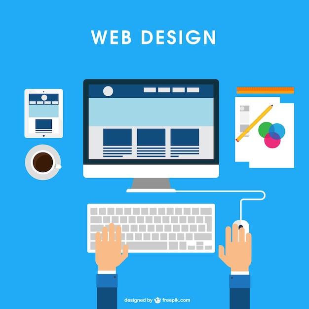 Escritorio de diseñador web vector gratuito