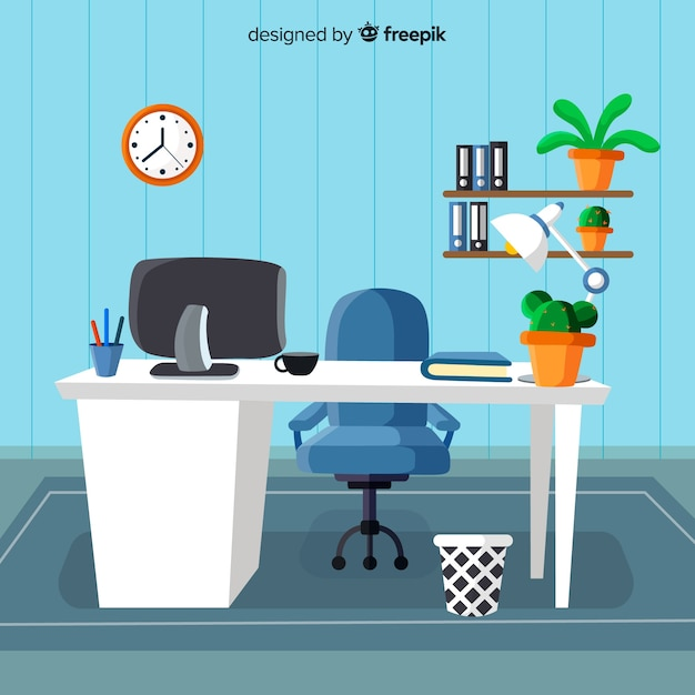 Escritorio moderno de oficina con diseño plano vector gratuito