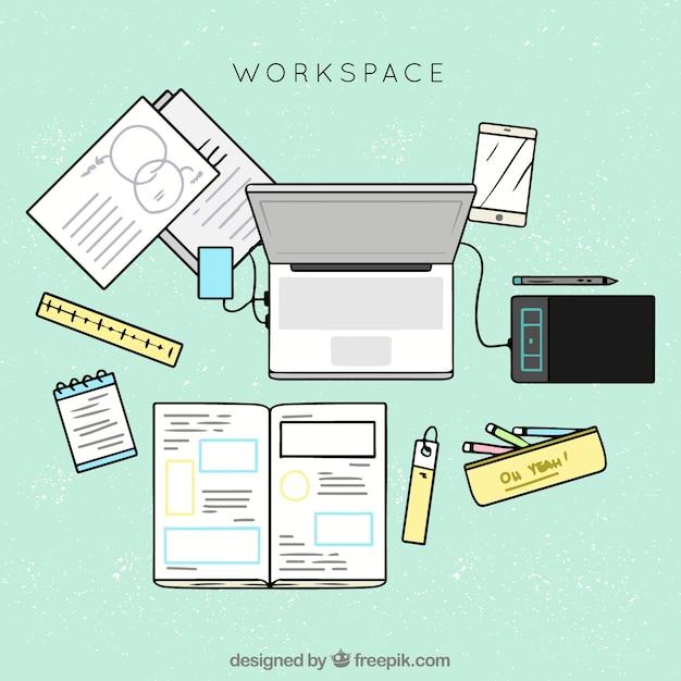 Escritorio De Oficina Con Estilo De Dibujo A Mano Descargar