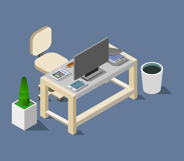 Escritorio de oficina isométrico vector gratuito