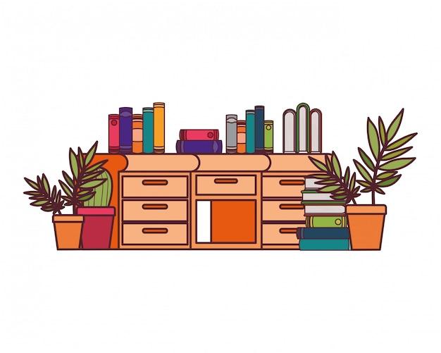 Escritorio con pila de libros. vector gratuito