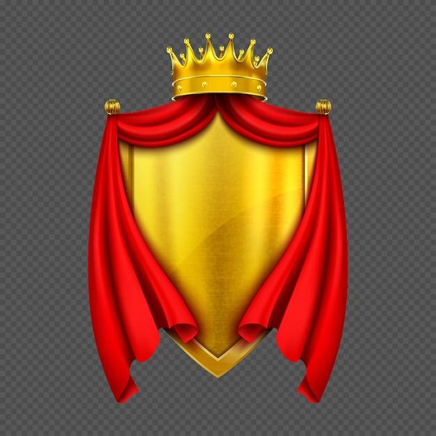 Escudo de armas con corona y escudo monarca dorado vector gratuito